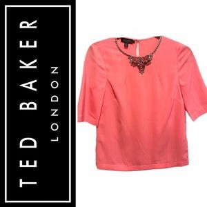 New !Ted baker Salmon coloured red jewelled
